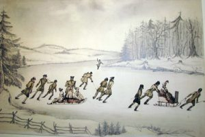 1830 - A 19th-century watercolour of group of skaters gliding serenely on a frozen river, bundled ladies in sleighs amid the striding military men.